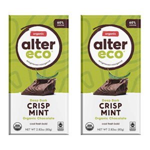 Alter Eco | Dark Mint Crisp | 60% Pure Dark Cocoa, Fair Trade, Organic, Non-GMO, Gluten Free Dark Chocolate Bar, 2 Bars – FREE SHIPPING