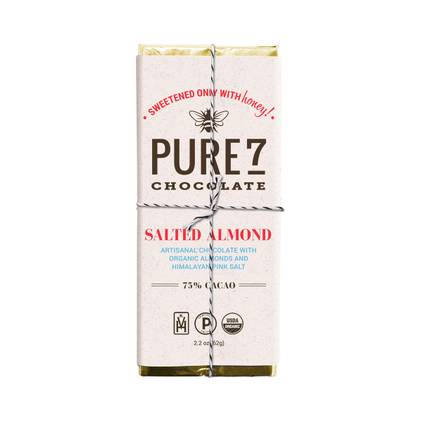 Pure7 Salted Almond Chocolate Bar - 72% Cacao