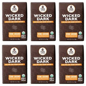 Taza Chocolate | Amaze Bar | Wicked Dark | 95% Stone Ground | Certified Organic | Non-GMO | 2.5 Ounce (6 Count) – FREE SHIPPING w/Prime