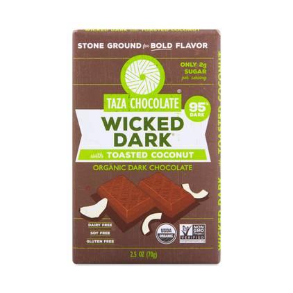 Taza Wicked Dark 95% Chocolate Bar with Toasted Coconut