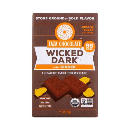 Taza Wicked Dark Chocolate Bar 95% with Ginger