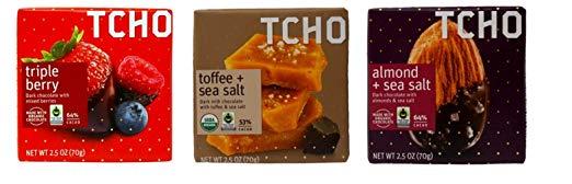Tcho Fair Trade Chocolate Bars 3 Flavor Gift Bundle, 1 each: Triple Berry Dark, Toffee Sea Salt Dark Milk, Almond Sea Salt Dark (2.5 Ounces)