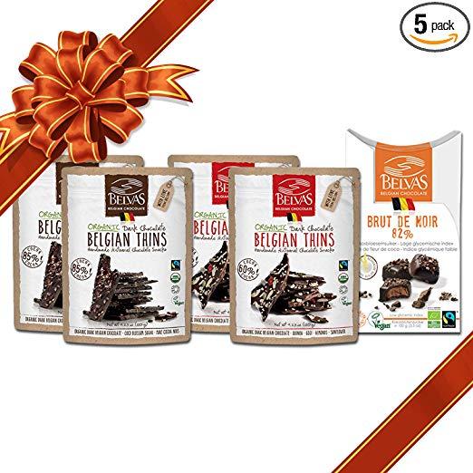 Belvas Belgian Dark Chocolate - Assorted Vegan Set - Organic Thins and Truffles