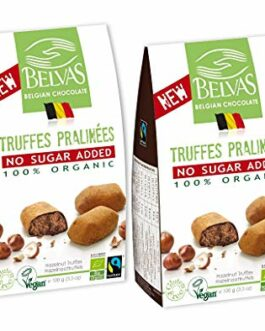 Belvas Hazelnut Praline Truffles – No Added Sugar Dark Chocolate 3.5oz (2 Boxes) – FREE SHIPPING