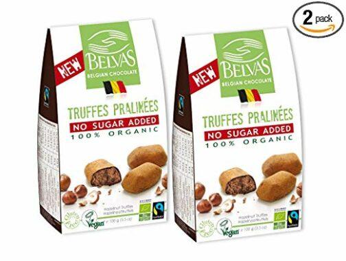 Belvas Hazelnut Praline Truffles - No Added Sugar Dark Chocolate 3.5oz (2 Boxes)