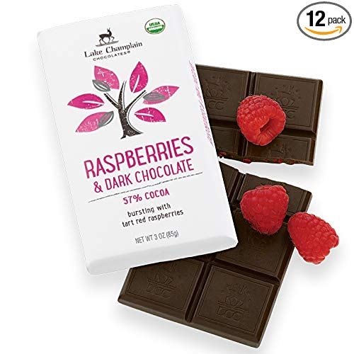 Lake Champlain Chocolates 12 Pack Bar, Raspberries and Dark Chocolate, 3 Ounce