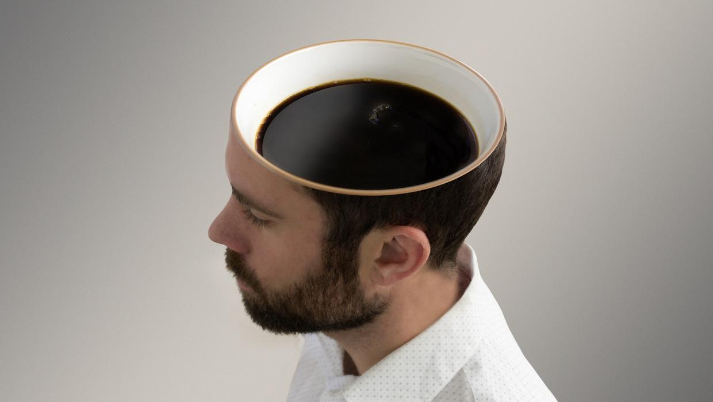 Coffee inside a man's head.