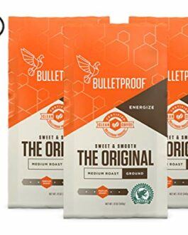 Bulletproof The Original Ground Coffee, Premium Medium Roast Organic Beans, 3-Pack – FREE SHIPPING w/Prime