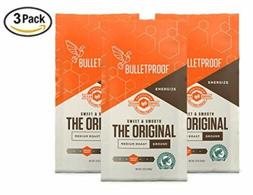 Bulletproof The Original Ground Coffee, Premium Medium Roast Organic Beans, 3-Pack