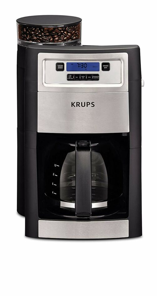 KRUPS Grind and Brew Auto-start Coffee Maker with Builtin Burr Coffee Grinder