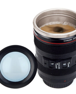 Camera Lens Travel Mug – Stainless Steel w/Lid – FREE SHIPPING
