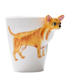 3-D Animal Shape Hand Painted Ceramic Coffee Mugs