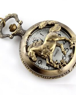 Antique Horse Hollow Quartz Pocket Watch – FREE SHIPPING